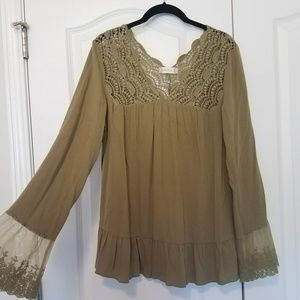 Altar'd State Lace Crochet Bell Sleeve Blouse L